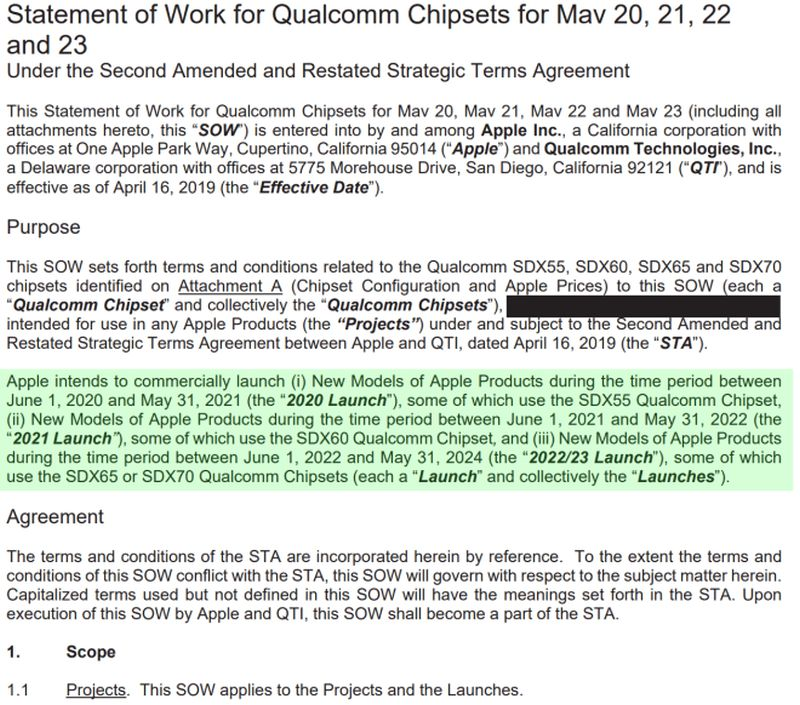 Apple        Có thể phát hành sản phẩm với modem Qualcomm SDX55 5G trong năm nay 1