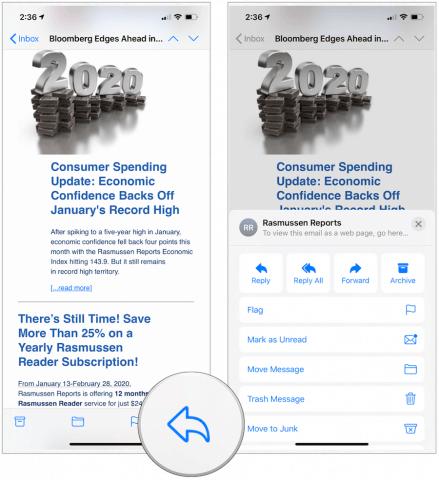 Barra de ferramentas de e-mail para iOS 13.4