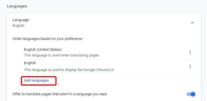 Etapas para alterar a etapa do idioma do navegador Chrome 6