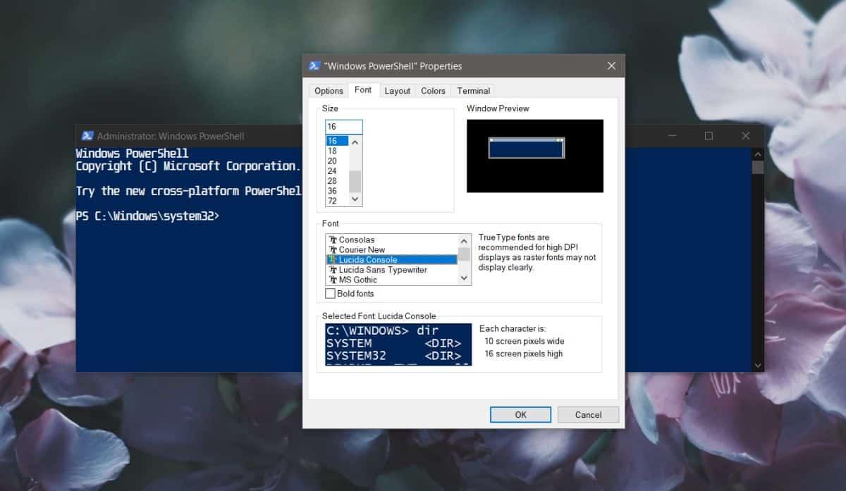 Fəal PowerShell-də dəyişməz şriftləri necə düzəltmək olar Windows 10 1