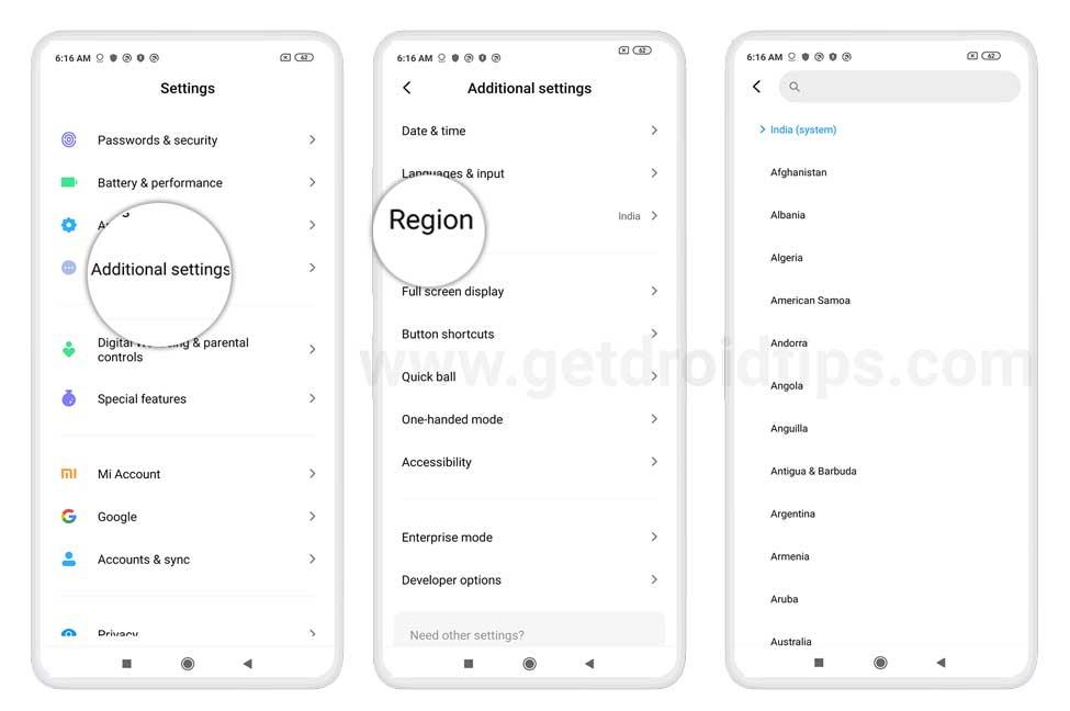 Thay đổi vùng trên Xiaomi