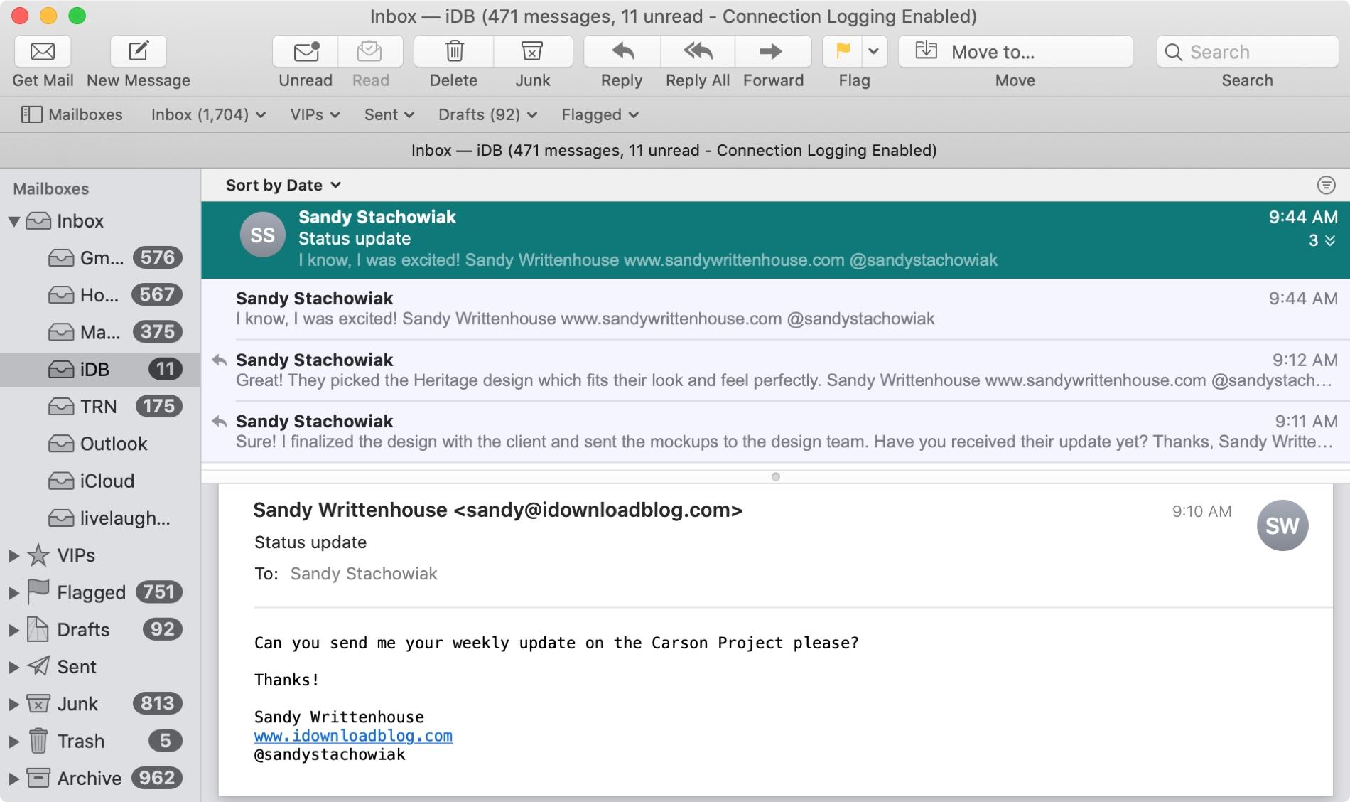 Mac Mail-də danışıq tətbiqi