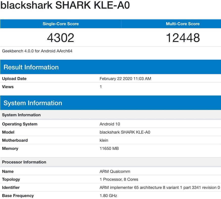 црна ајкула 3 geekbench