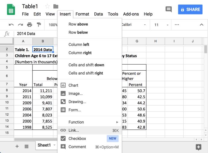 Cómo conectar datos a otras pestañas en hojas de cálculo de Google 1