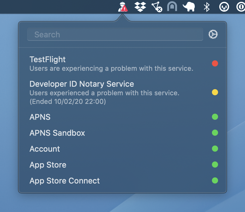 Quickly check the status of developer and consumer services for Apple with StatusBuddy 3