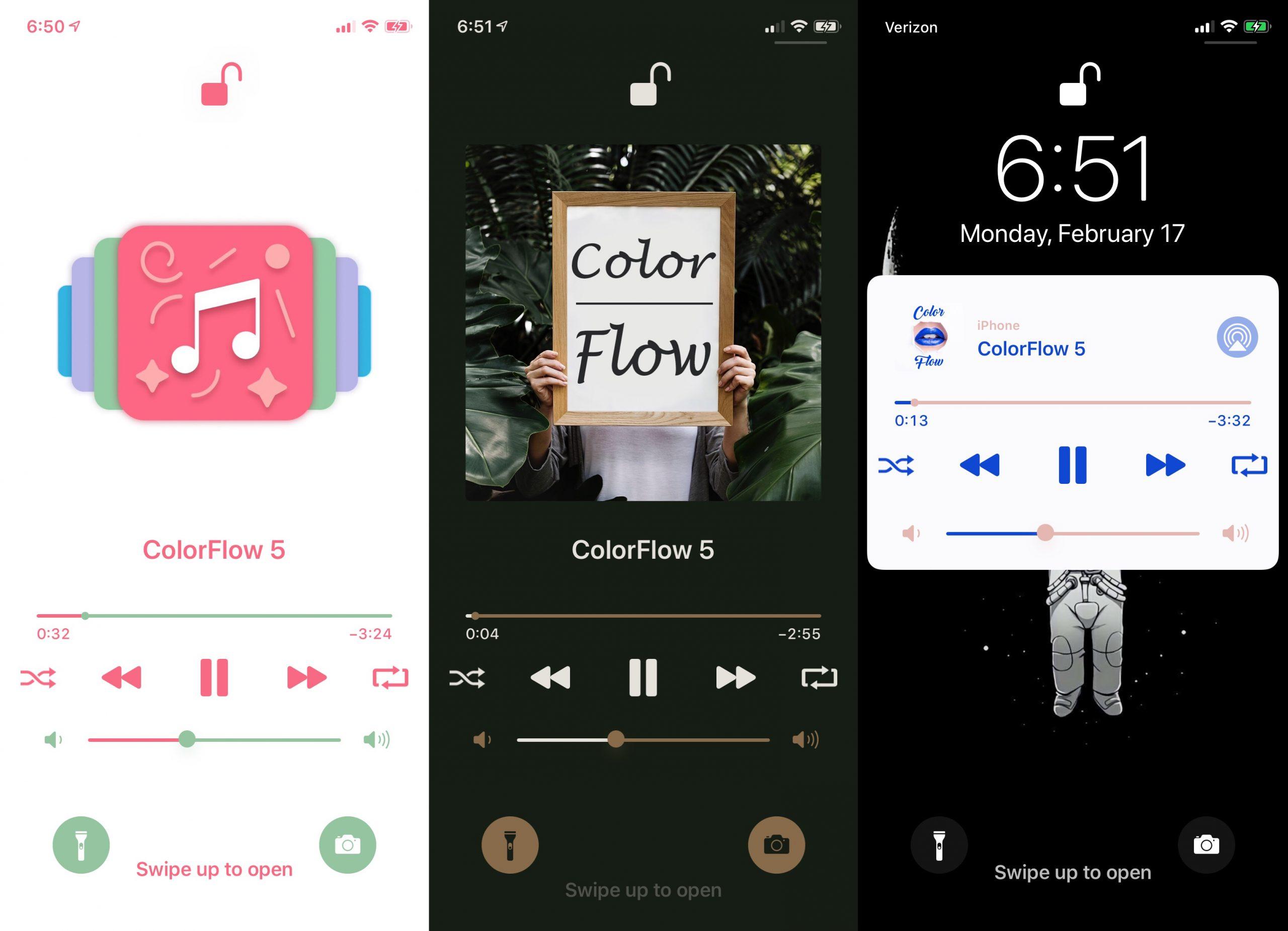 يوفر ColorFlow 5 واجهة iOS Now Playing 13 ، طبقة طلاء جديدة 2