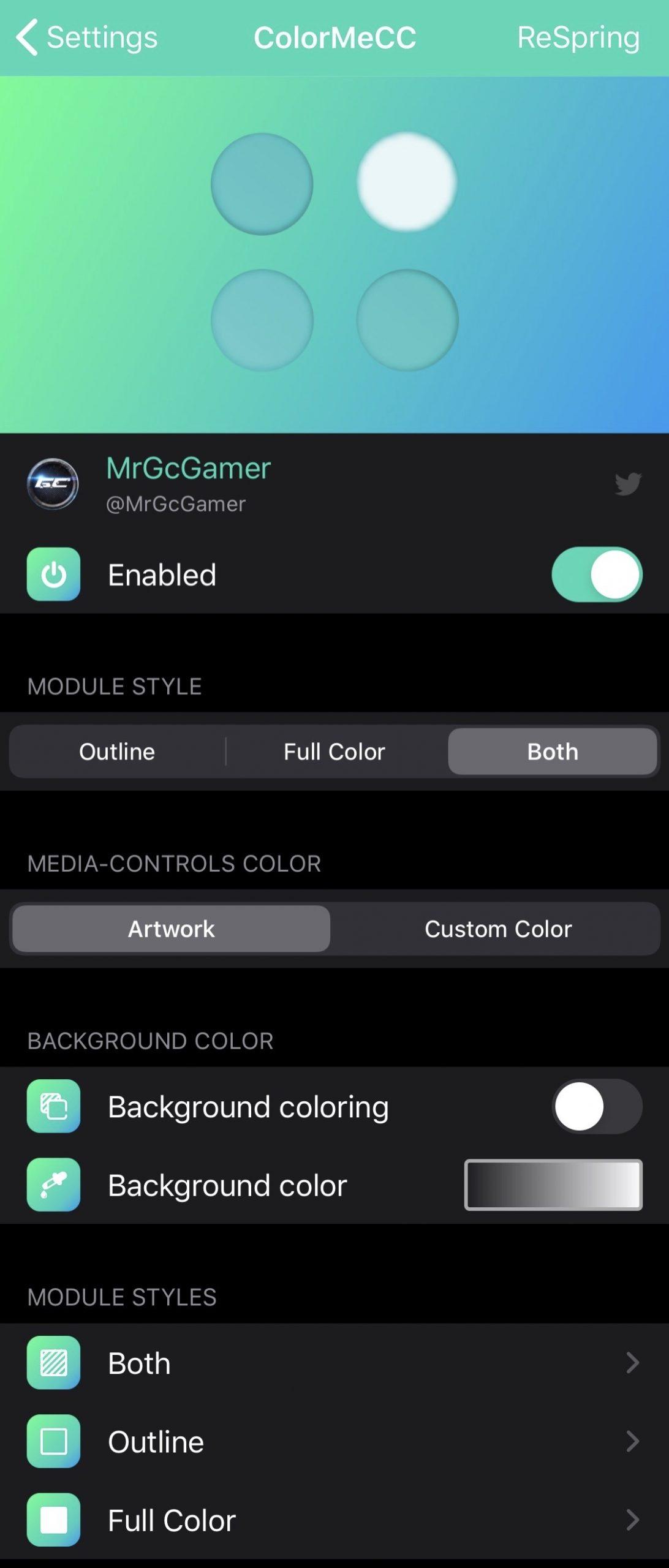 ColorMeCC, iOS İdarəetmə Mərkəzini pulsuz rəngləndirməyə imkan verir 4