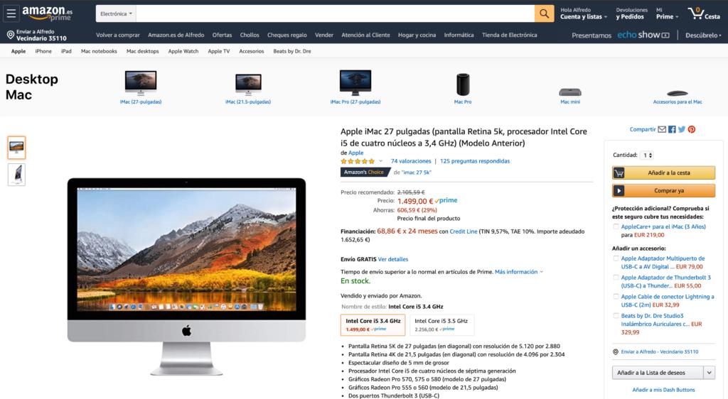 "Alennus iMac 27 "": llä 5K: n resoluutiolla Amazon Espanja"
