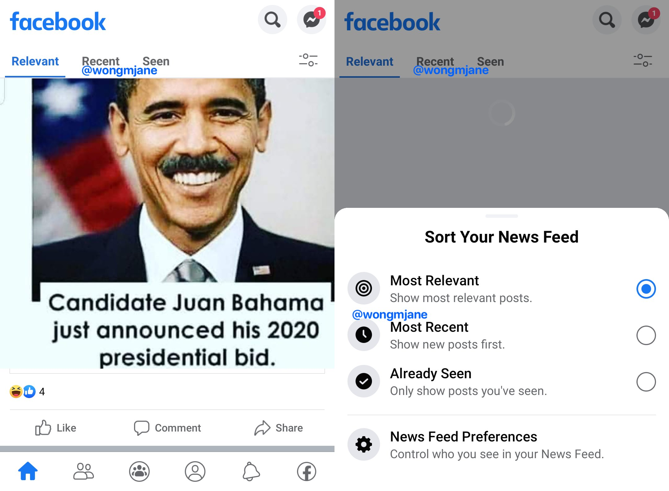 Facebook secara internal menguji peralihan yang mudah antara urutan Umpan Berita berurutan, kronologis, dan algoritmik 2