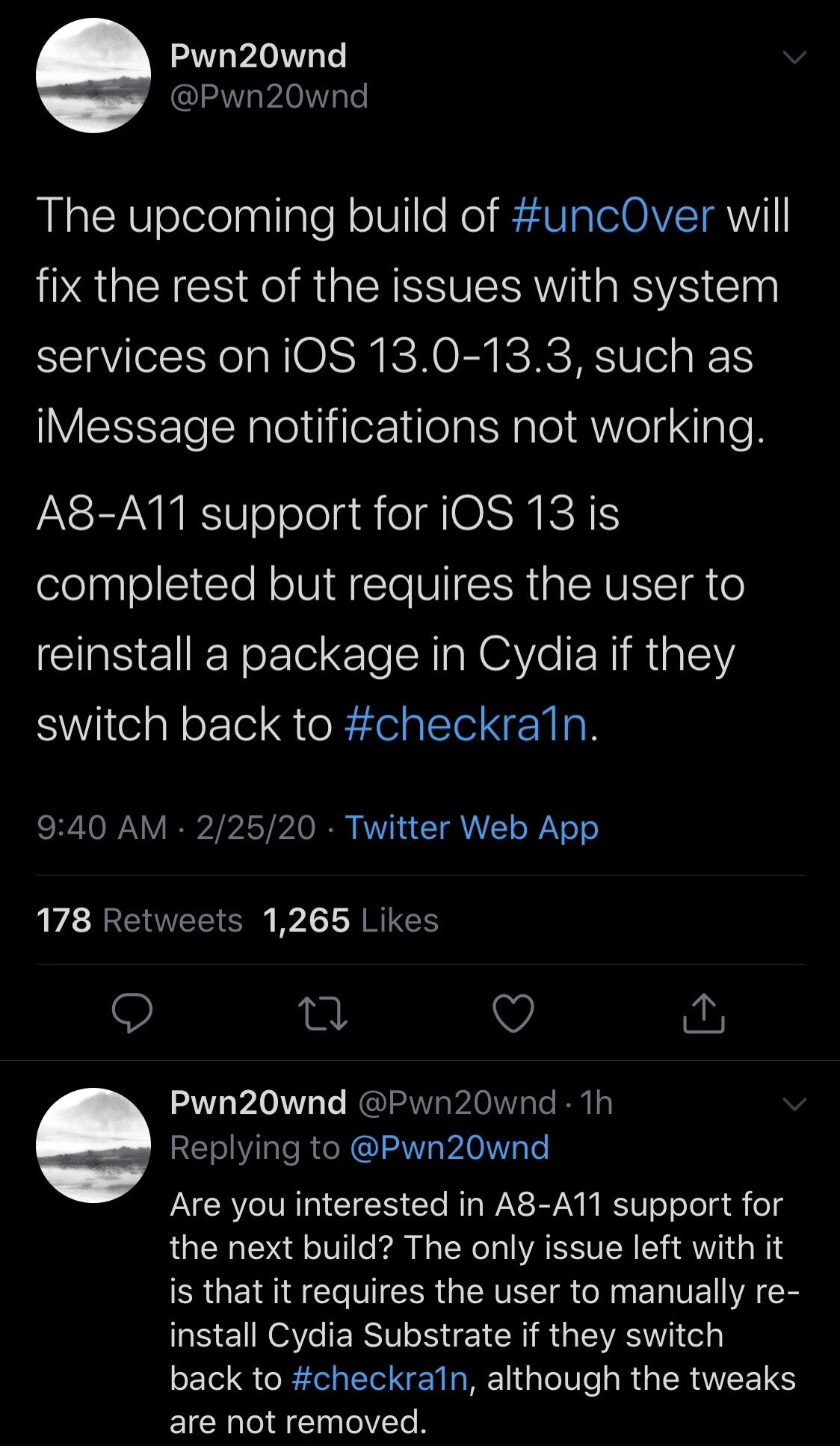 Bản cập nhật tiếp theo được phát hiện để hỗ trợ iOS 13.0-13.3 trên thiết bị A8-A11 3