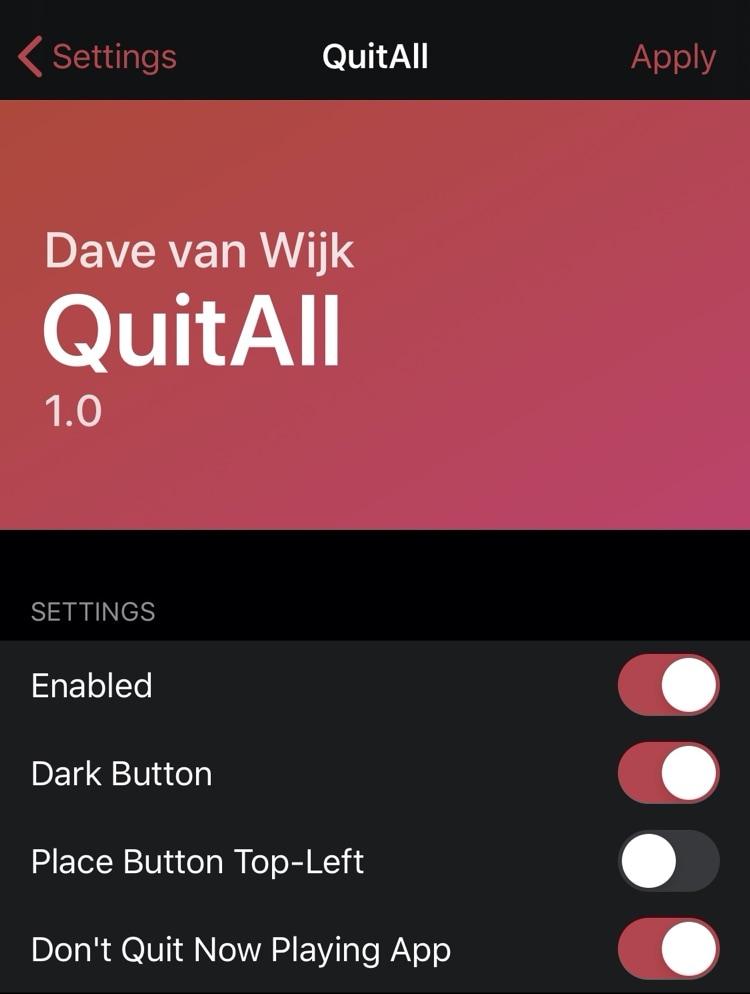 QuitAll, bütün toxunuşla bütün tətbiq dəyişdiricilərini bağlamağa imkan verir 3