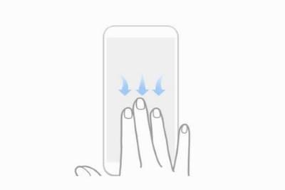 capturas de pantalla de tres dedos sin el botón de encendido