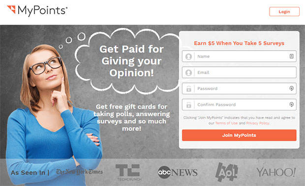 MyPoints - cho thẻ quà tặng miễn phí