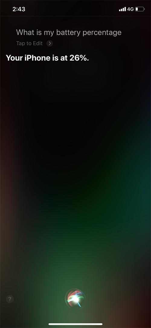 Yêu cầu Siri hiển thị phần trăm pin trên iPhone 11 Pro Max