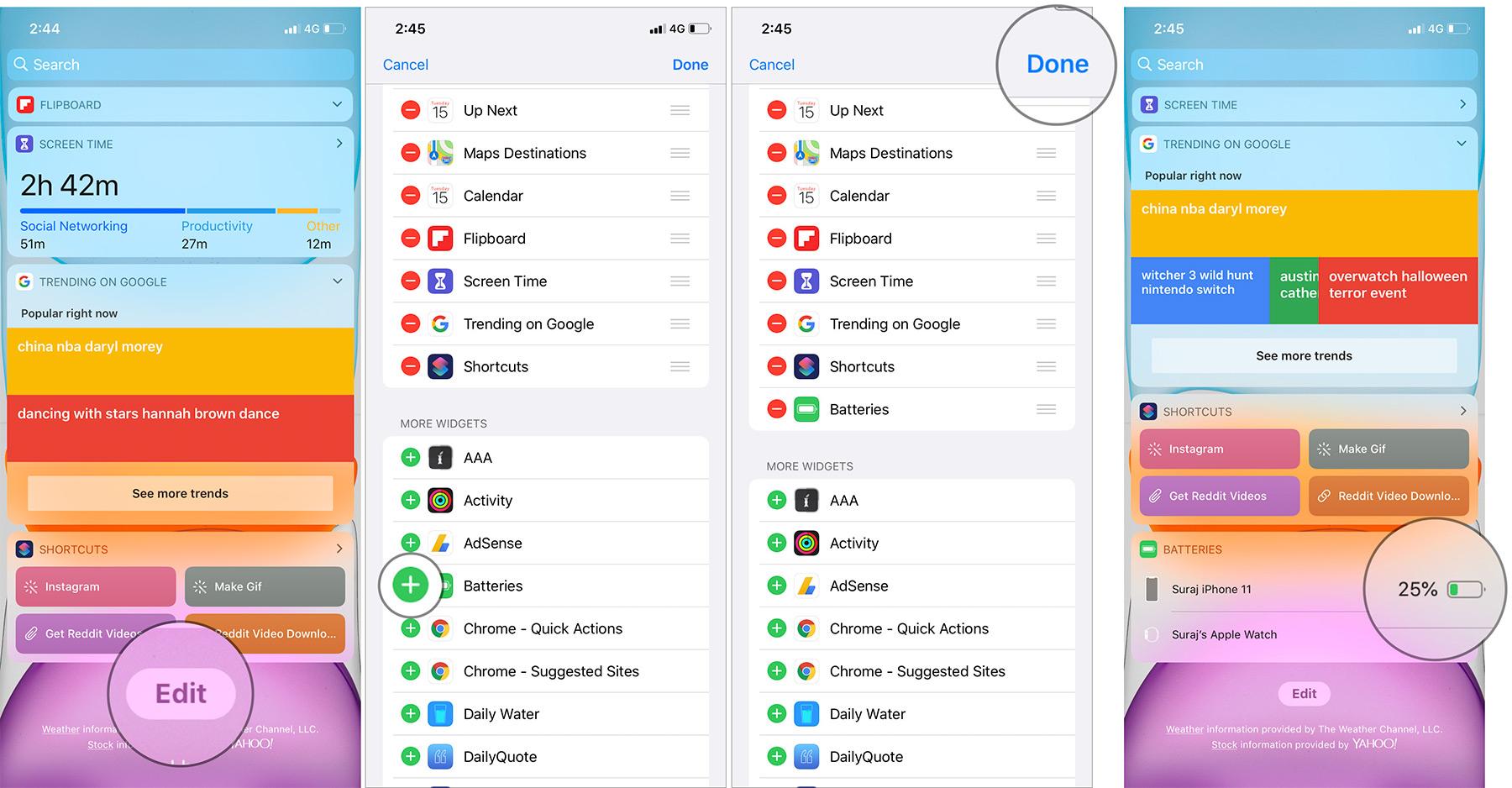 Thêm tiện ích Pin vào Chế độ xem hôm nay trên iPhone 11 Pro Max