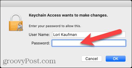 Nhập tên người dùng và mật khẩu để truy cập Keychain