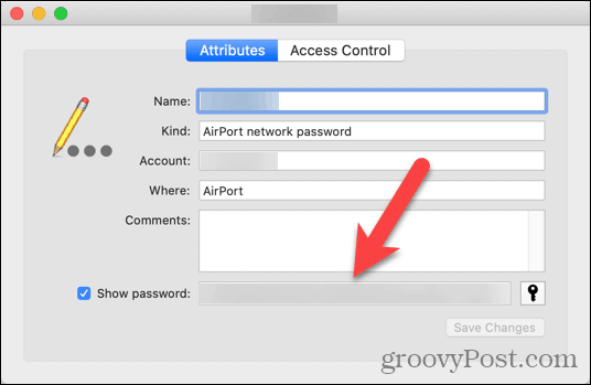 Mật khẩu mạng được hiển thị trong Keychain Access