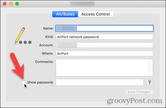 Nhấp vào Hiển thị hộp kiểm mật khẩu trong Keychain Access