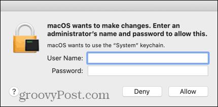 Nhập thông tin đăng nhập cho tài khoản Mac quản trị của bạn