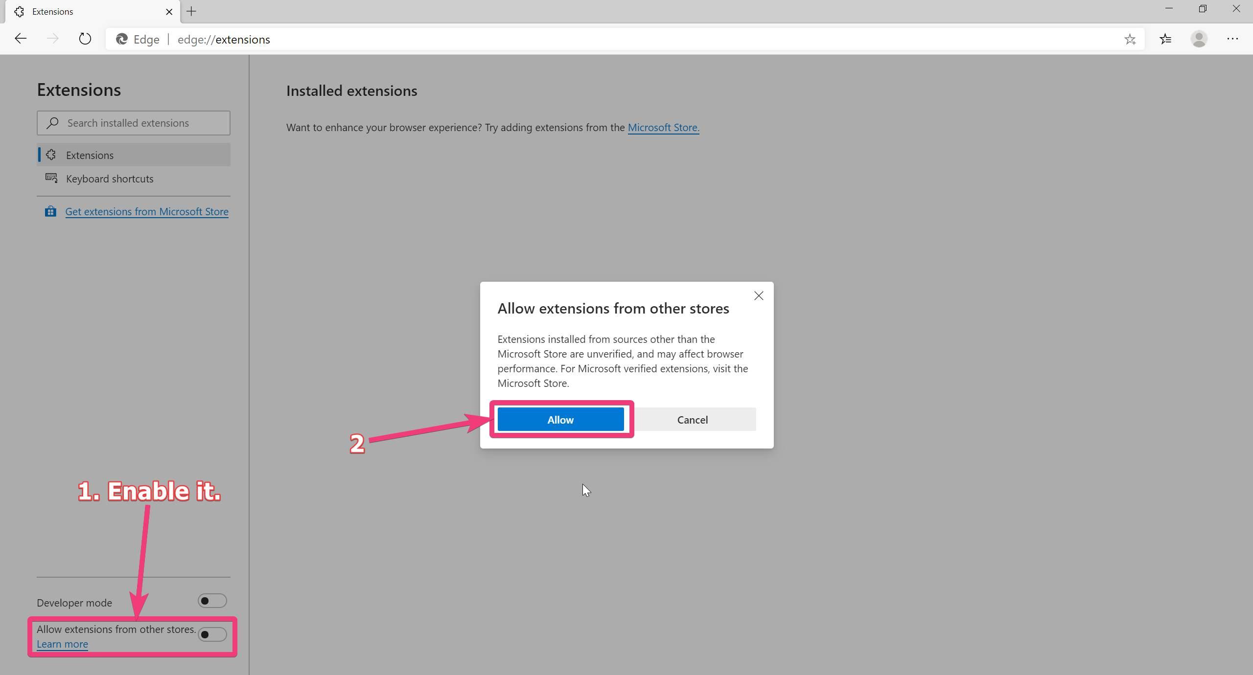 Bật tiện ích mở rộng Chrome trên Microsoft Edge