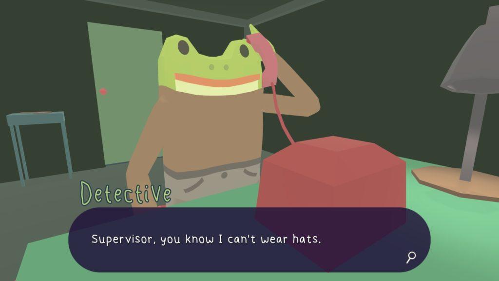 Thám tử ếch trả lời điện thoại.