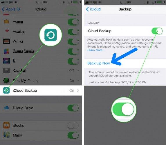 Cách sao lưu iPhone vào icloud iOS 11