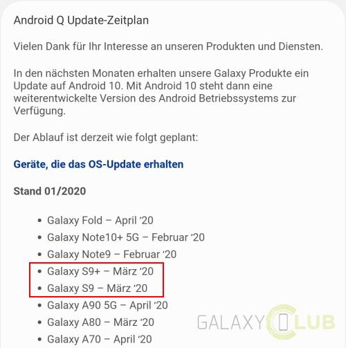 galaxy s9 android 10 samsung thành viên Đức