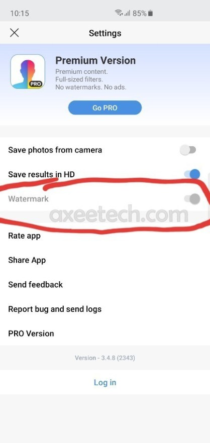 Cách bật chuyển đổi FaceApp Watermark