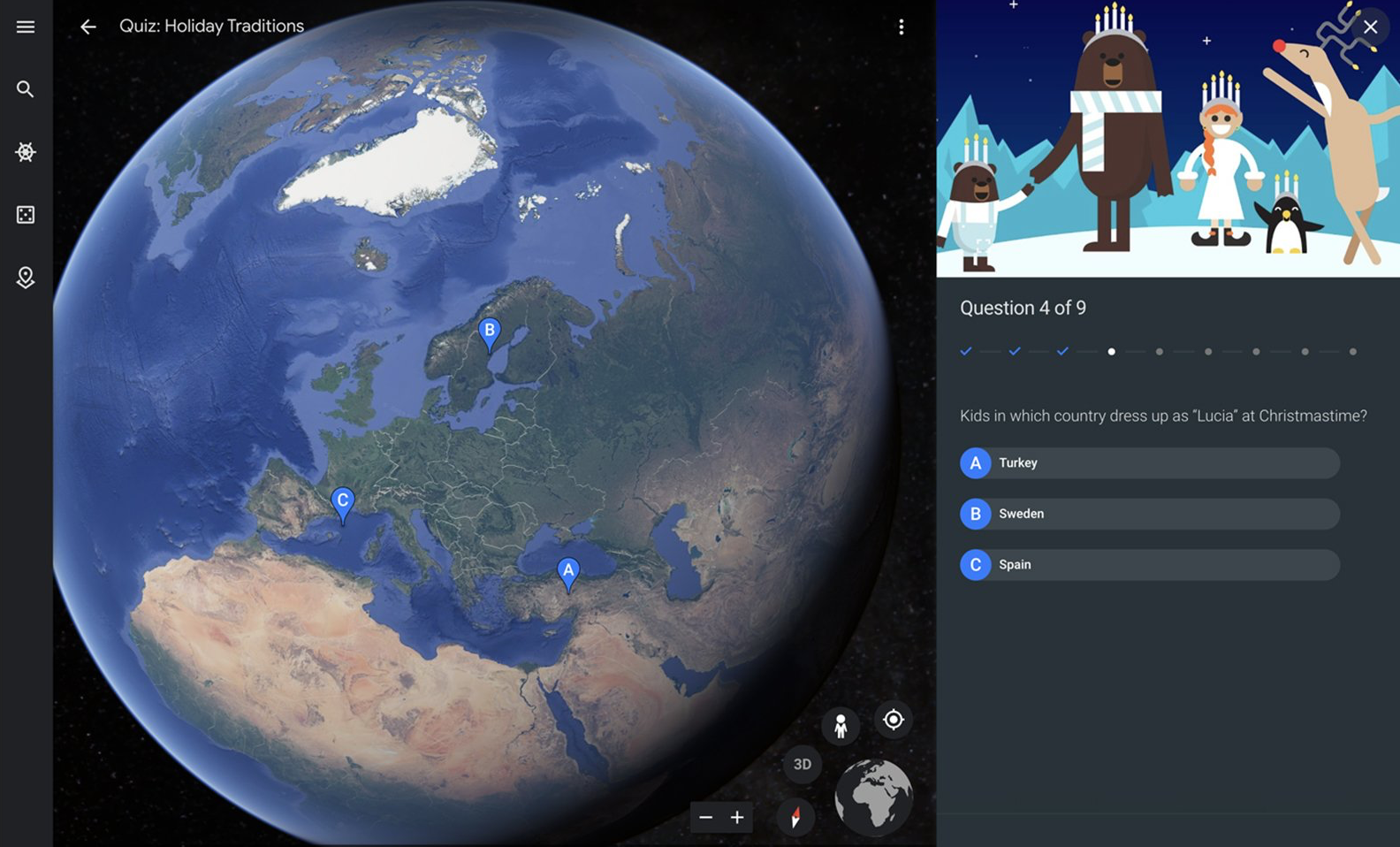 google trái đất giáng sinh