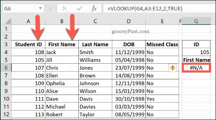 Một ví dụ khác về Lỗi NA với VLOOKUP trong Excel, do phạm vi dữ liệu không được sắp xếp đúng