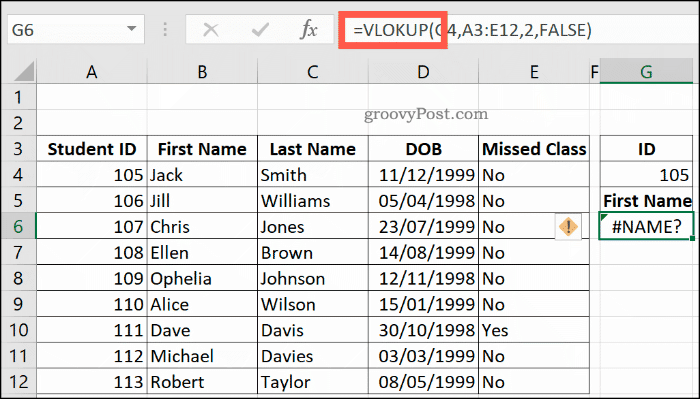 Công thức VLOOKUP sai chính tả trong Excel, trả về lỗi NAME