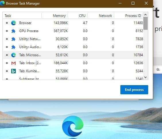 Trình quản lý tác vụ trình duyệt Microsoft Edge