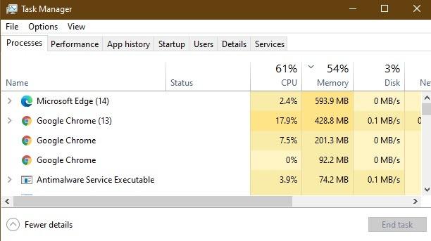 Thực hành so sánh bộ nhớ Cpu của Microsoft Edge Chrome Edge