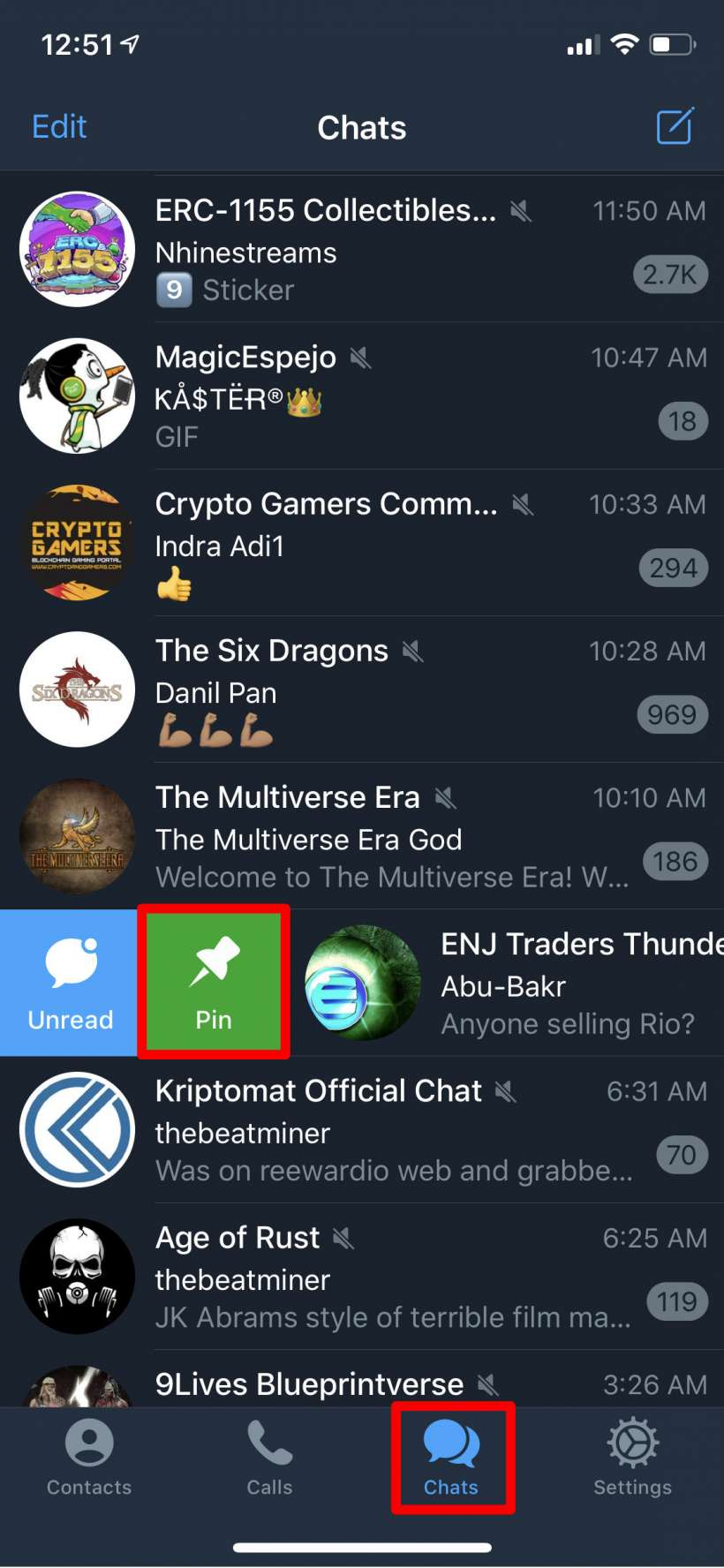Cách đặt các kênh Telegram theo thứ tự trên iPhone và iPad.