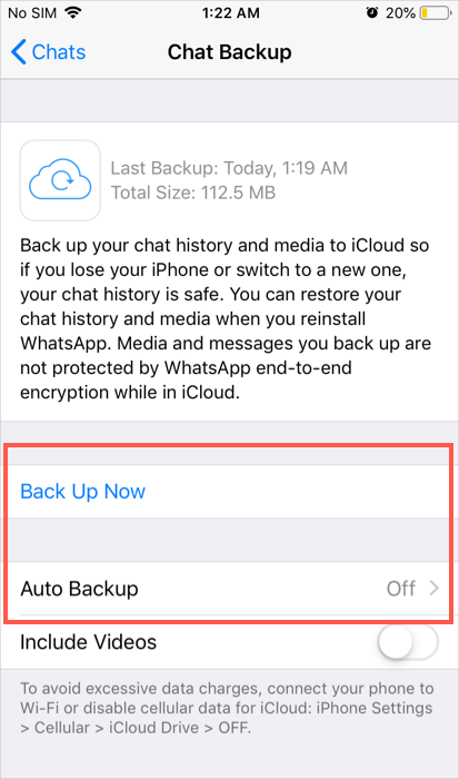 Tùy chọn sao lưu WhatsApp