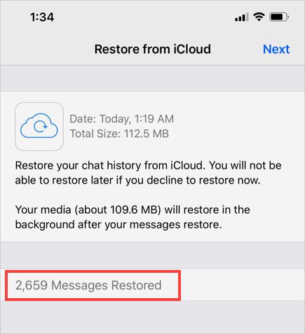 Tất cả tin nhắn được khôi phục