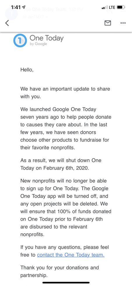 Tắt máy Google One hôm nay