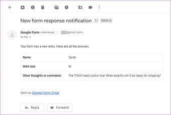 Nhận phản hồi của Google Forms trong Email 17
