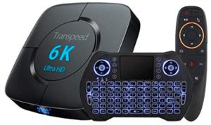 hình ảnh của android box với bàn phím và remote