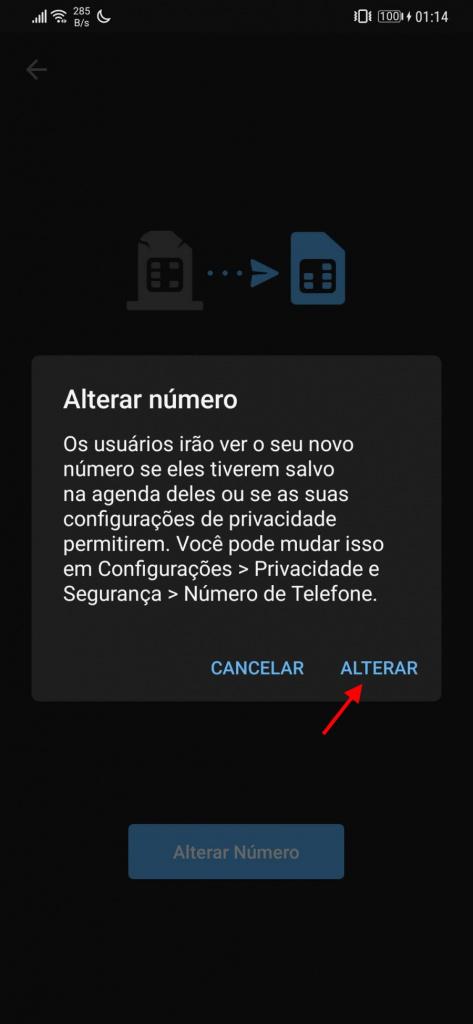Dữ liệu thay đổi số điện thoại của Telegram