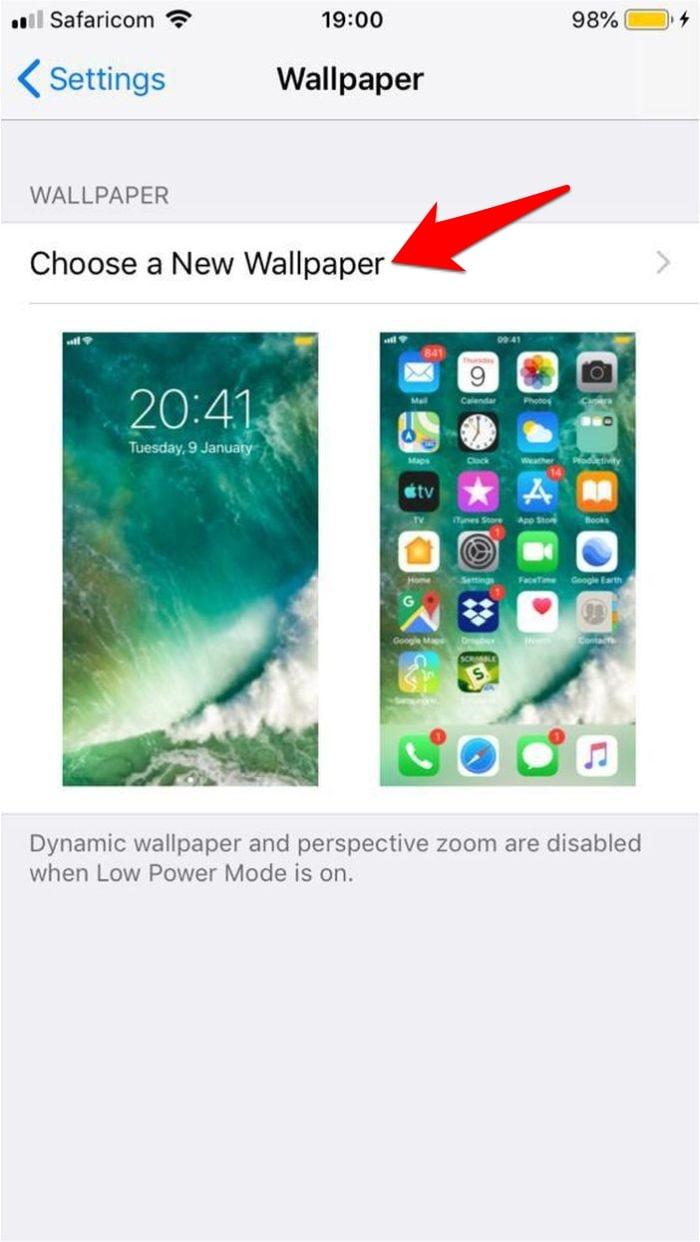 Đặt hình nền sống Iphone Chọn hình nền mới