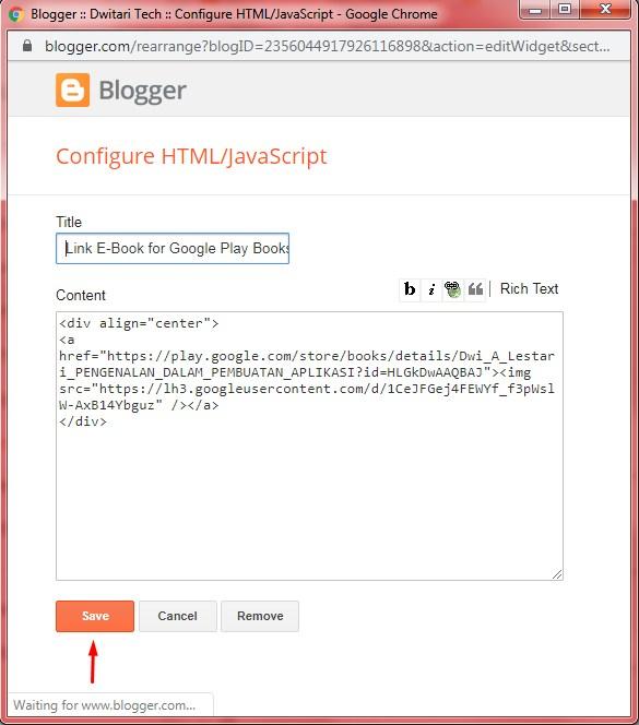 Cách tạo Liên kết Sách điện tử trên Google Play Sách đặc biệt trên Blogger. 8
