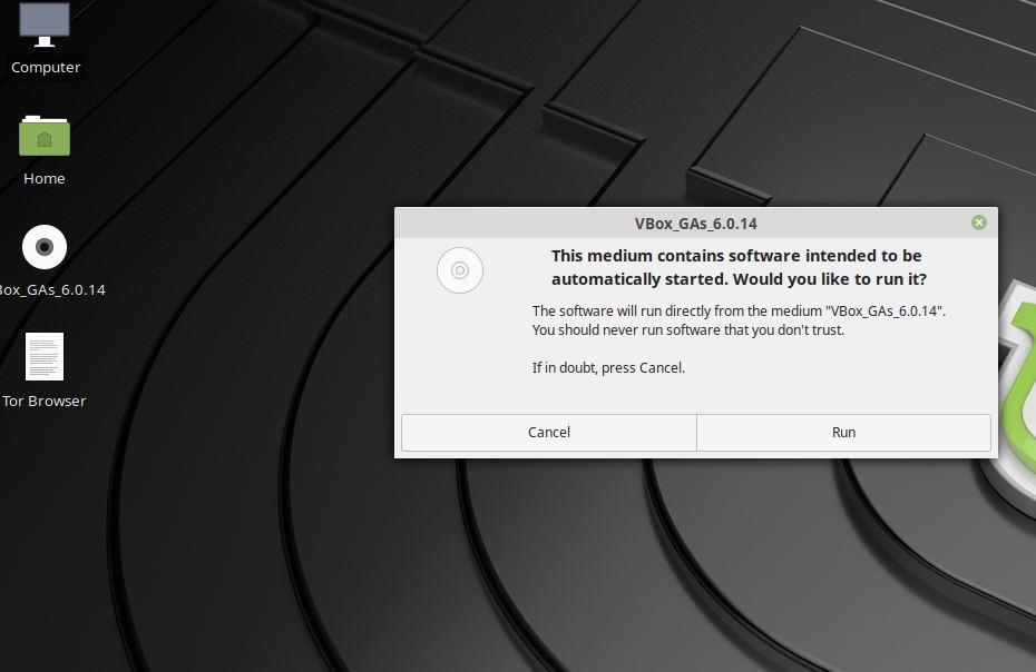 Chạy phần bổ trợ Guest trên Linux Mint để cài đặt