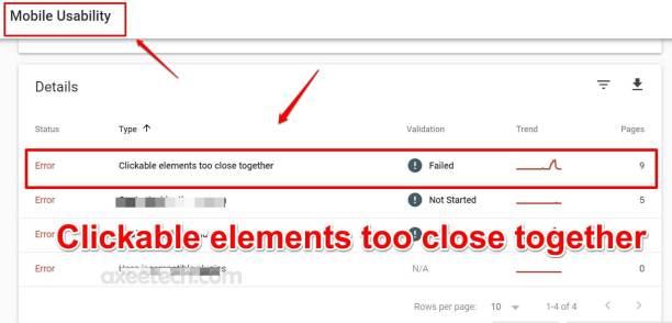Các yếu tố có thể nhấp quá gần nhau WordPress sửa Google Search Console