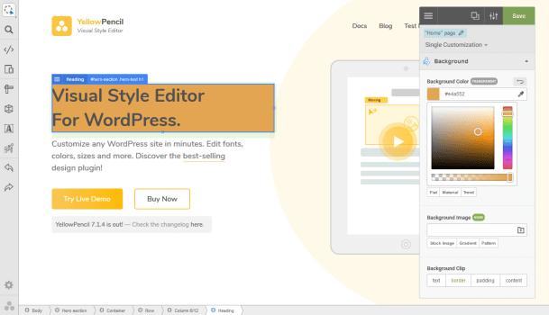 Bút chì màu vàng Visual CSS Style Editor