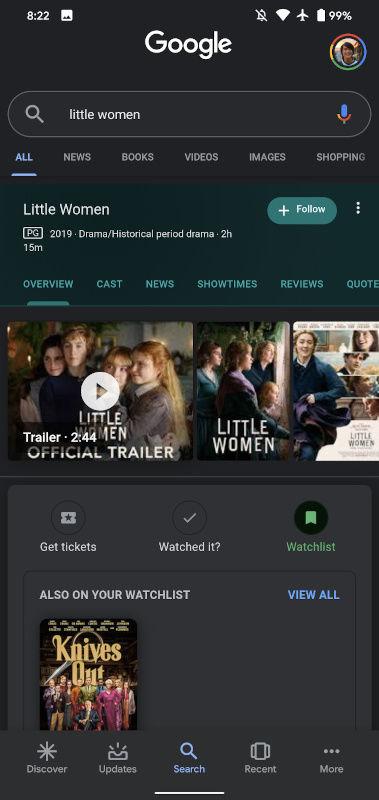 Google - Thêm phim vào danh sách theo dõi