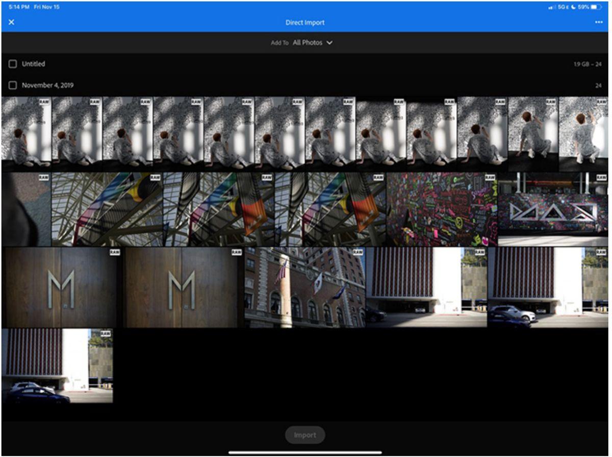 Lightroom cho iPad Hiện cho phép nhập trực tiếp