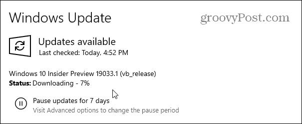 Phát hành Microsoft Windows 10 20H1 Xây dựng 19033 2