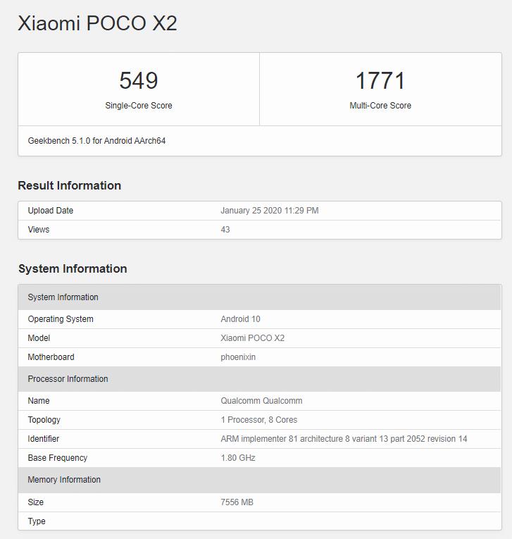 Poco X2 đi kèm với các biến thể RAM 6GB và 8GB, điểm số Geekbench đã xác nhận. 2