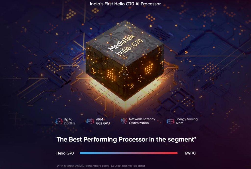 Realme C3 sẽ là điện thoại đầu tiên có chipset chơi game ngân sách MediaTek Helio G70 và nâng cấp đáng kể so với Realme C2 1